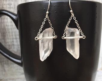 Rock Crystal Quartz Gemstone Earrings