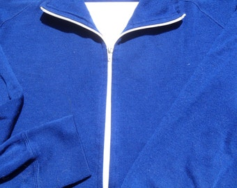 Vintage 1970s Izod Lacoste Royal Blue Tracksuit Jacket with White Zipper and Piping