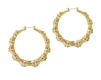Hip Hop Large Bamboo Earrings with Yellow Gold - Door Knocker Hoops as Hilary Duff, Kim Kardishian and Rhianna