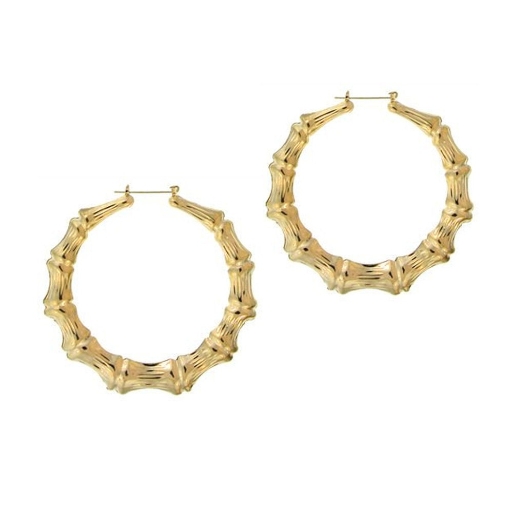 Hip Hop Large Bamboo Earrings With Yellow Gold  Door Knocker Hoops As  Hilary Duff,