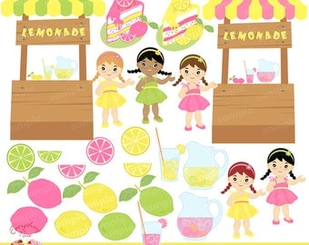 Little Lemonade Girls Lemonade Stand Clip Art Set