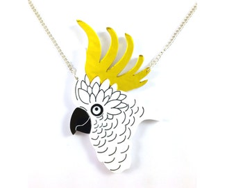 Cockatoo Necklace. Bruce the Cockatoo. Australia. Gift for Her. Bird Statement Necklace. Laser Cut Acrylic Accessory. Tropical Bird Pendant.