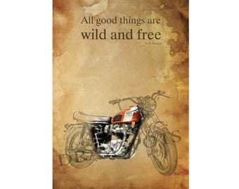 """TRIUMPH MOTORCYCLE quote - """"All good things are wild and free."""" H.D. Thoreau - 11.5x16 inches"""