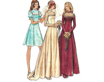 """Butterick 3164 Woman Fitted and Flared Bridal Dress or Bridesmaid Dress Sewing Pattern Size 10 Bust 32.5"""" / 82cm Vintage 1970s"""