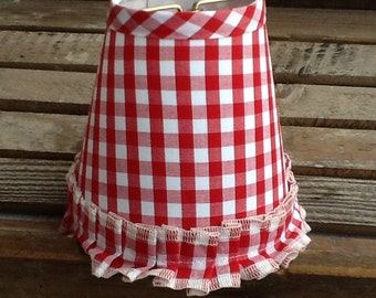 Red and white gingham chandelier lampshade check shade with ruffle set of 4 shades