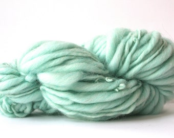 Thick and Thin  Hand Spun  Super Chunky Wool Yarn  Spearmint  Heather  Color
