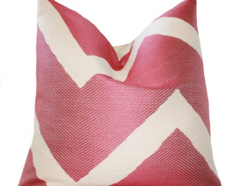"SALE 25.00 18"" or 20"" - Designer Pink Pillow Cover - Rasbperry Geometric Zig Zag - Throw Cushion- Decorative Chevron - Modern Fuschia Pillow"