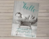 Photo Birth Announcement - Hello - For Baby Boy or Girl