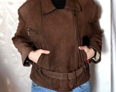 FREE SHIPPING VINTAGE Brown Jacket Womens Leather Jacket Italian Brown Jacket Vtg Leather Jacket Size M