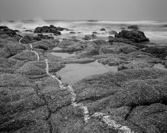 Peaceful Seascape on Monterey Peninsula Rocks Tidepools Waves in Black and White Tranquil