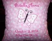Personalized Baby Birth Announcement Keepsake Pillow Butterfly Design