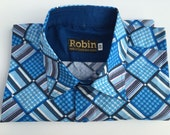 SALE Men's shirt blue geometric print on cotton with block colour inside collar, cuffs. long sleeves.