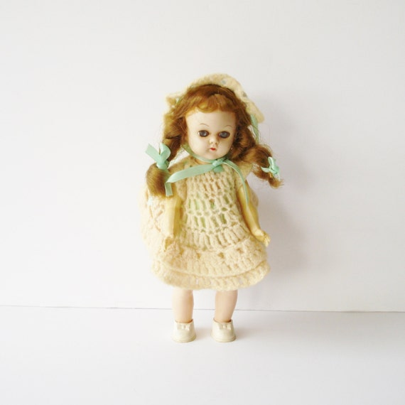 Vintage Walking Doll, 1950s Doll in Crochet Dress, Sleep-Eye Doll, Vintage Doll on Stand