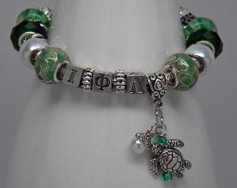 """IOTA PHI LAMBDA United Sisterhood 7.5"""" European Style Large Hole Bead Bracelet with Turtle and Love Charms"""