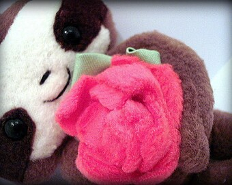 Handmade Cedric the baby Sloth Rose Magnetic Plush