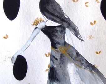 Woman Watercolor Woman Art Shadow Woman Romantic Decor Wall Art Woman Fine Art Room Decor Girl Original Painting Shadow Drawing Grey Gold