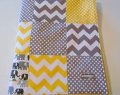 Minky Baby Patchwork Quilt Blanket Riley Blake Chevrons and Dots Cloud9 Elephants Gray Yellow 2 Sizes--Made to Order