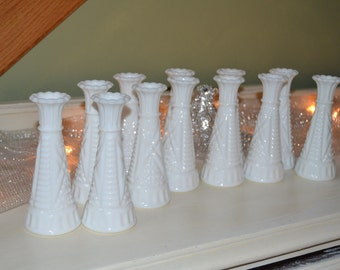 24 Vintage Milk Glass Vases Flower Vases Wedding Decor