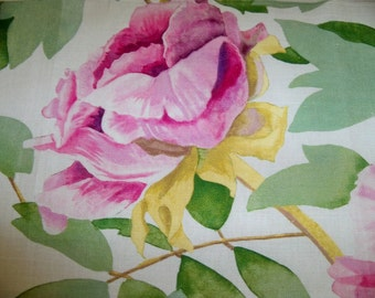 MANUEL CANOVAS SHABBY Cabbage Roses Linen Toile Fabric 10 yards Rose Pink Fuschia Violet  Multi