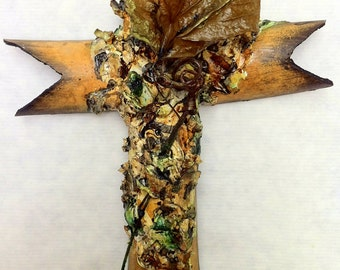 handmade bamboo and plaster cross, painted art collage, earth, burnt umber, forest green, grapevine