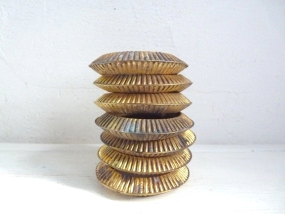 antique gilt curtain rings set of 7 by