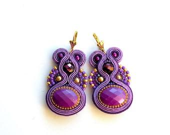 Earrings-dangle soutache earrings-hand embroidered0OOAK-Dark Ultra Violet