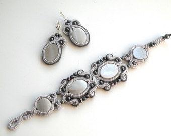 Grey Elegance - Earrings+Bracelet - Soutache Jewelry - Hand Embroidered bracelet