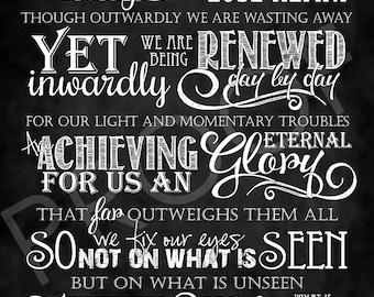 Scripture Art - 2 Corinthians 4:16-18 Chalkboard Style
