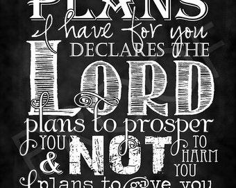 Scripture Art - Jeremiah 29:11 Chalkboard Style