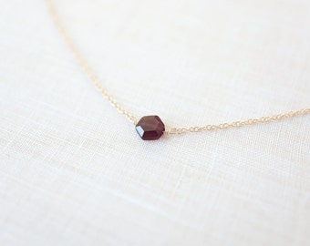 Mini Garnet Hexagon Necklace - (14k gold filled chain & precious stone)