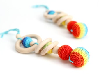 Rainbow Crochet Teething Toy/Wooden rattle with crochet wooden beads and wooden rings. Twins gift. Waldorf teething toy