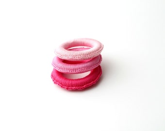Pink set of 3 Baby teething ring toys, Wooden Crocheted Baby Teether, Baby teething toy, all organic and eco-friendly