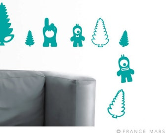 Wall Decals for Baby Nursery & Kids Decor - Happy Monsters Collection - Turquoise - Great Newborn Gift