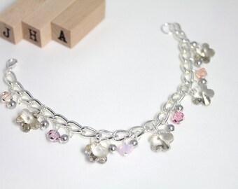 Formal/Wedding/Bridesmaid/Everyday Swarovski crystal chain bracelet - Silver flowers