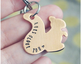 Nuts About You Squirrel Keychain - Hand Stamped Copper Squirrel Key Ring - Snarky Keychain
