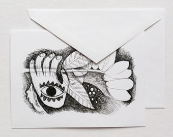 art card - FLOWER IN HAND / stationary, greeting card / black and white / 5x7 pen and ink drawing / flower art / hamsa, khamsa