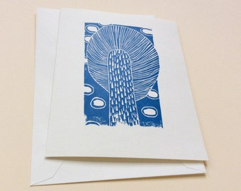 linocut card - TREE / greeting card / block print card / art card / blue & white