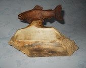 Hand Made - Wood Carved - Trout Business Card Holder - Office Decor