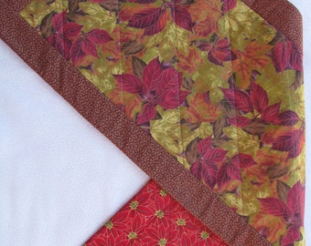 Falling Leaves Fall Christmas Quilted Reversible Tablerunner