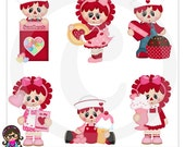 Raggedy Sweethearts Doll Valentine Clip art  Clipart Graphics  Commercial Use