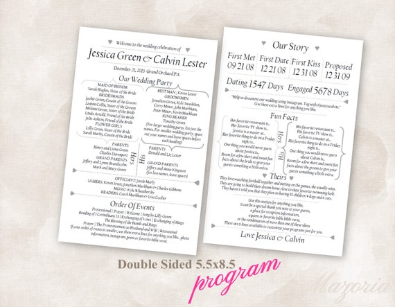 Wedding program double sided modern fun facts our story black pronofoot35fo Image collections