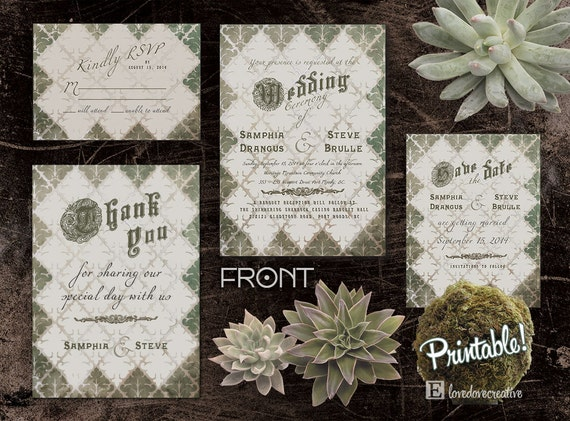 Wedding Invitation Suite - Printable • Damask Moss • Invite, RSVP Card, Thank You Card, Save the Date Card