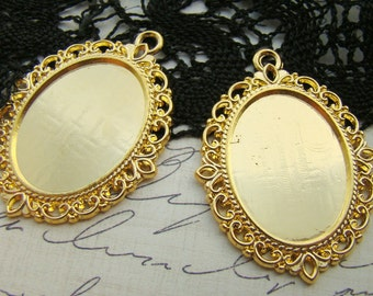 Ornate Gold Plated Filigree Cameo Cabochons Pendant Settings 25x18mm Oval - 2