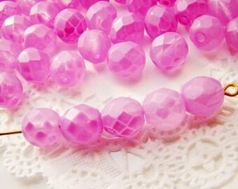 8mm Round Czech Glass Matte Coated Glass Beads Rose Fuchsia - 20