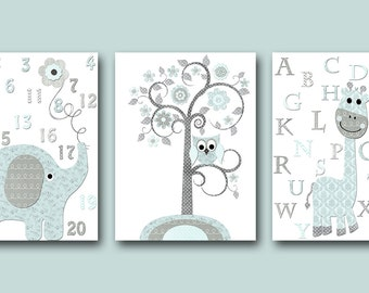 blue and gray baby room decor baby nursery decor baby boy nursery kids wall art kids