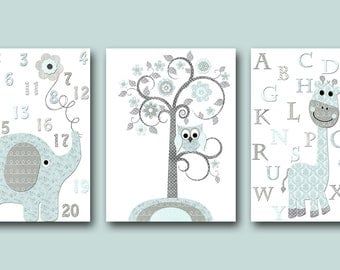 Blue and Gray Baby Room Decor Baby Nursery Decor Baby Boy Nursery Kids Wall Art Kids Art Elephant Nursery Giraffe Nursery Art set of 3