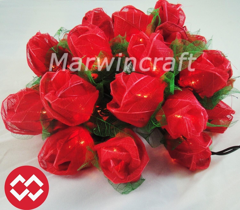 Red Flower String Lights : 35 Red Rose Flower Fairy String Lights Wedding by marwincraft