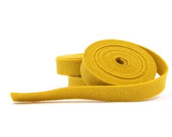 Wool Felt - 100 Percent Wool Felt Ribbon in color MUSTARD - 1/2 Inch X 2 Yards - Merino Wool Felt - Yellow Ribbon - Mustard Ribbon