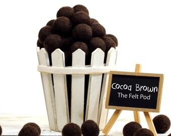 Wool Felt Balls // Felt Ball Garland DIY // diy Mobile // diy Necklace // Poms // Beads // COCOA BROWN // 1 cm 1.5 cm 2 cm 2.5 cm 3 cm 4 cm