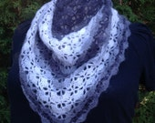 "Crocheted Shawl - ""Smoke Signals"" Hand Crocheted grey, black, and white shawl"